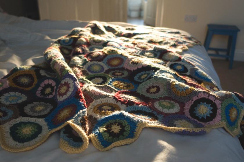 Crochet blanket in the sun