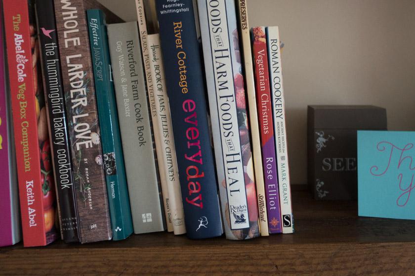 Cookery books in shelf