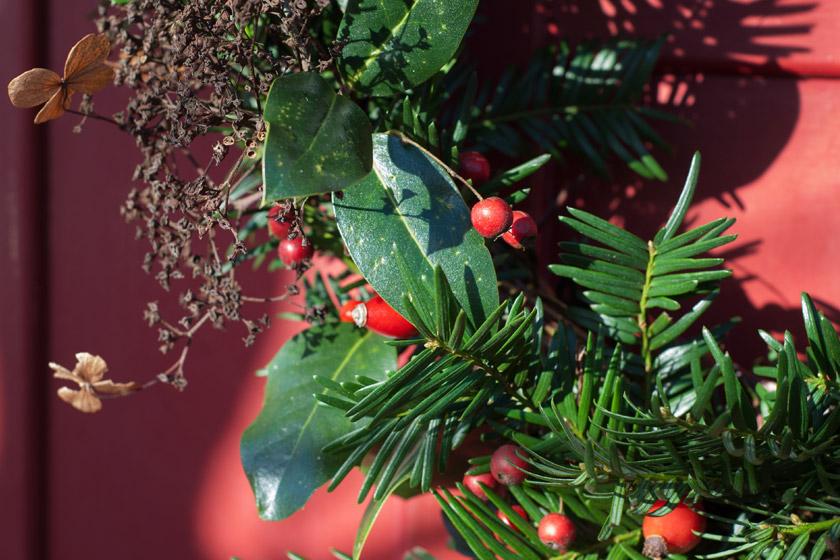 Closeup of berries on wreath