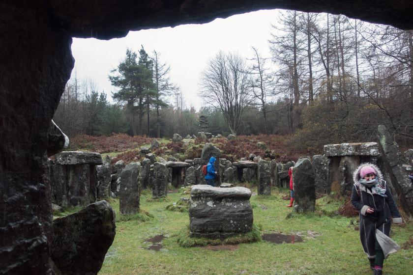 View through stones