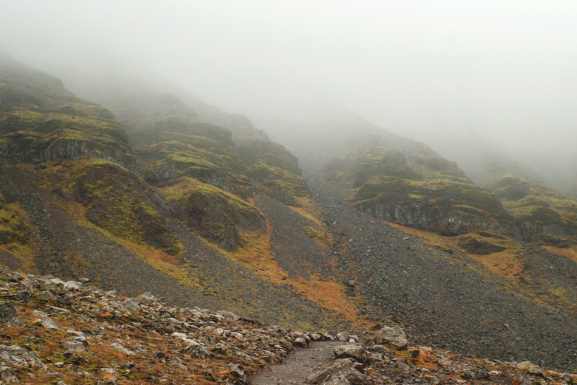 Misty mountain top