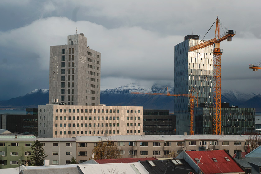 Reykjavík skyline with mountains