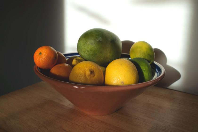 Fruit bowl in the sun