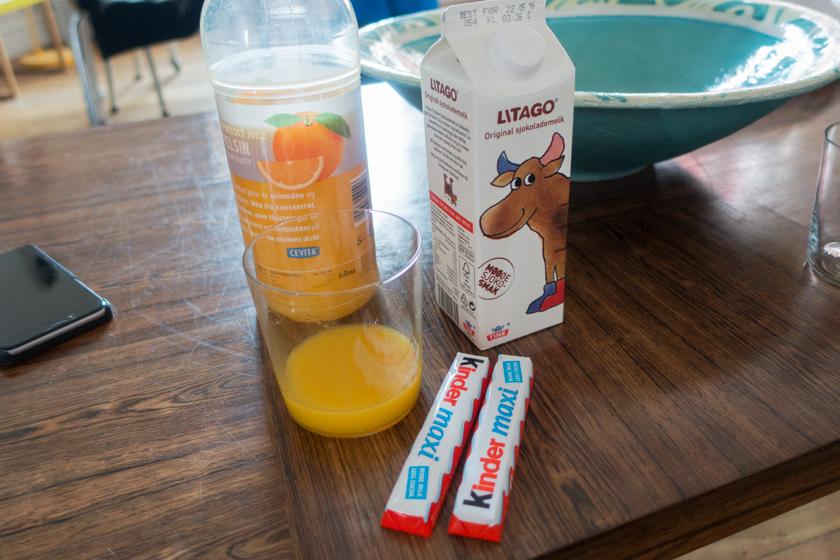 Orange juice and chocolate