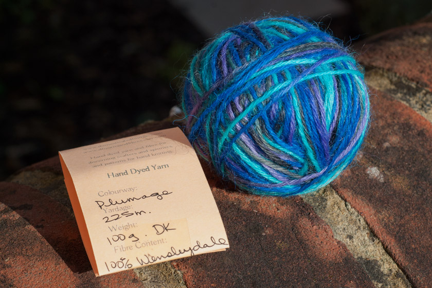 Ball of variegated blue yarn