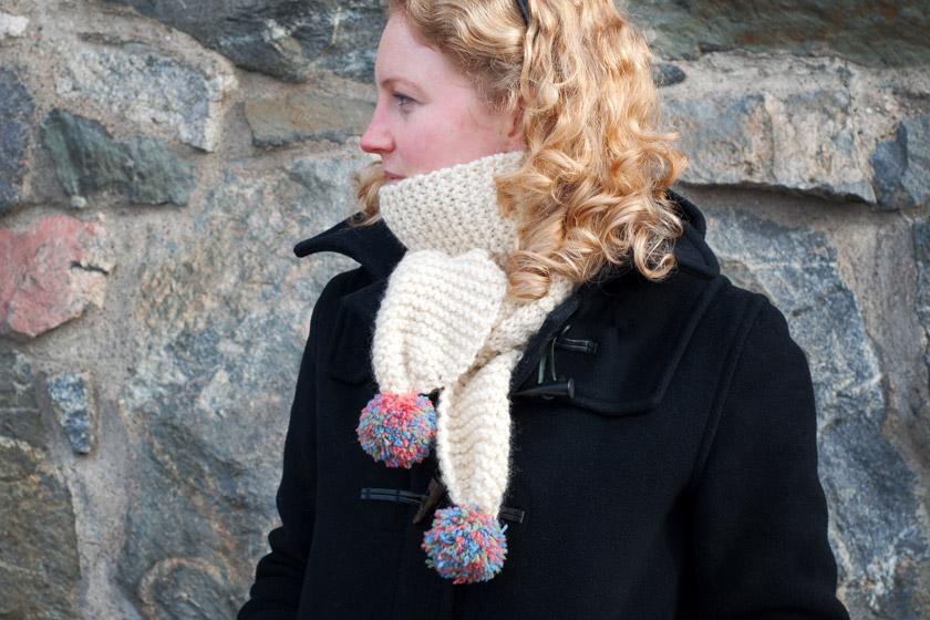 Cream pompom scarf