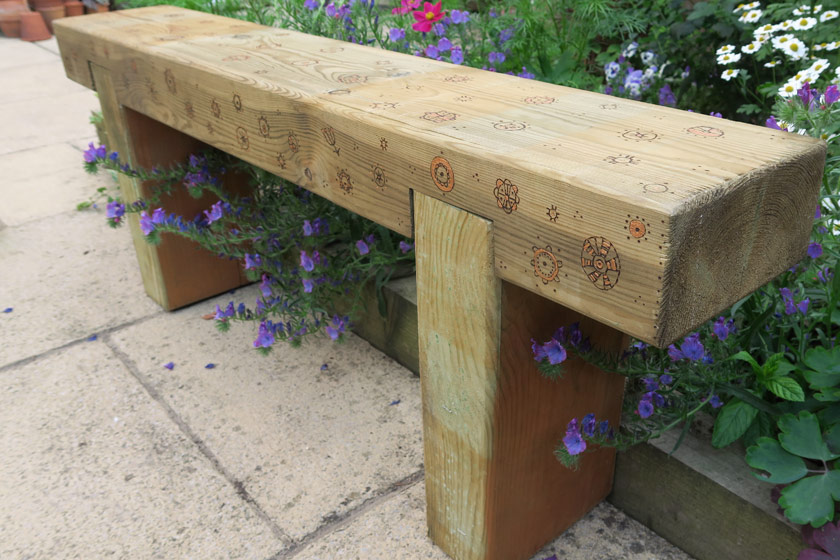Bench decorated with pyrography
