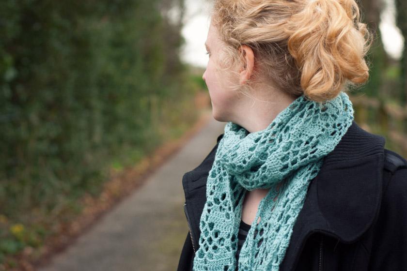 Closeup of scarf around neck