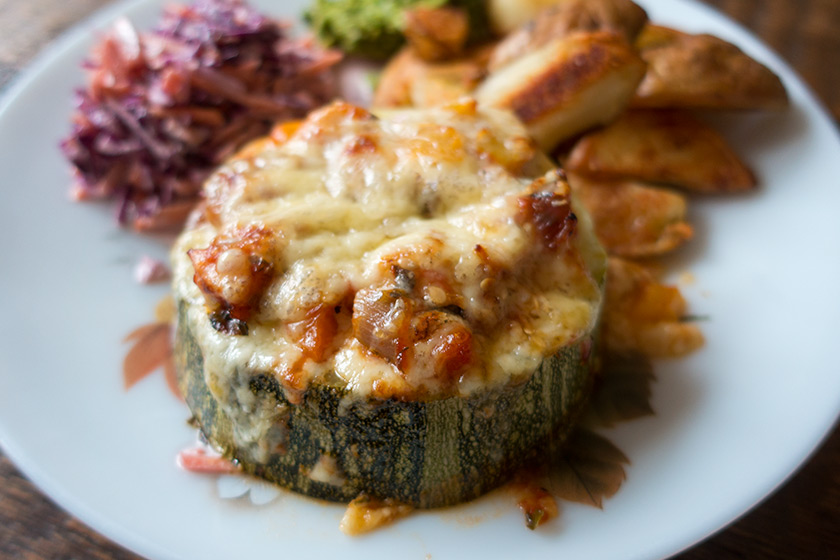 Cheese topped stuffed marrow
