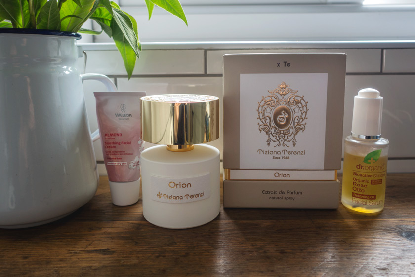 Perfume bottle on shelf