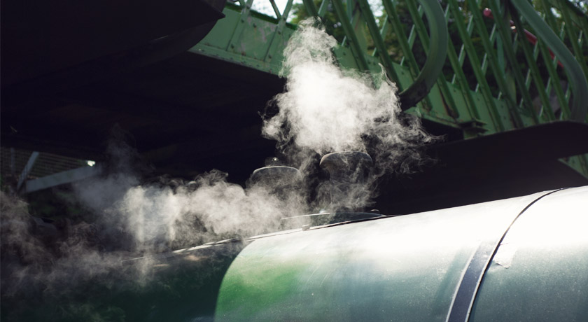 Steam rising from train