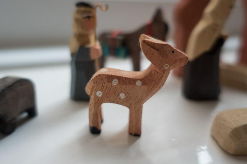 Closeup of wooden deer