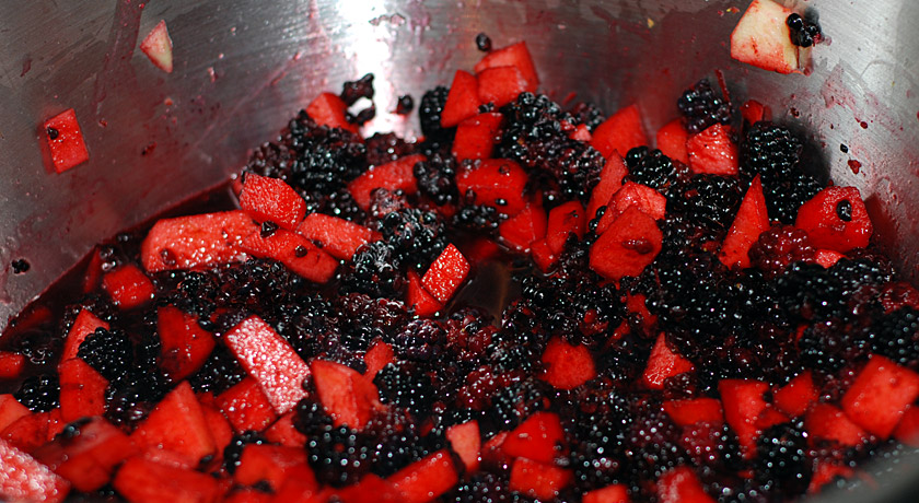 Chopped apples and blackberries
