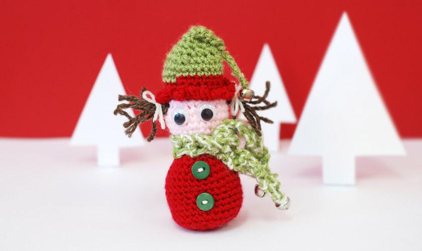 Crochet elf with scarf