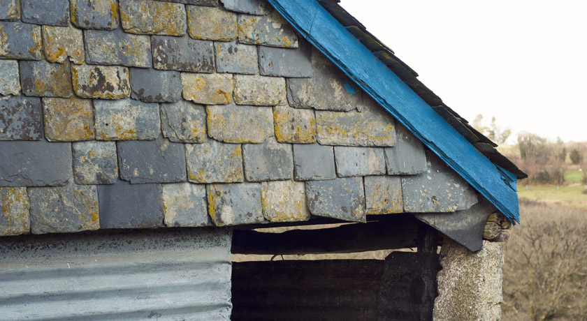 Old roof and slate tiles