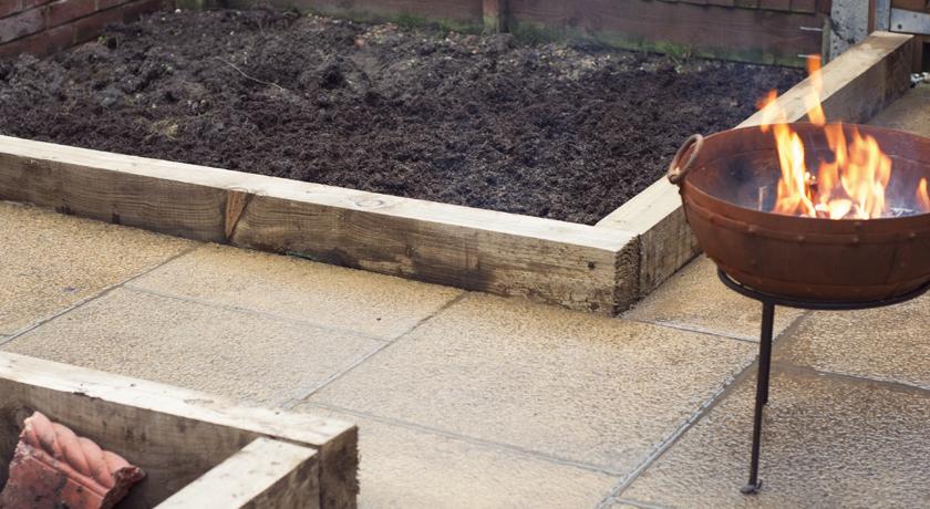 Raised vegetable beds in the garden