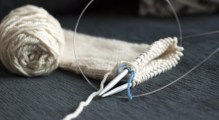 Knitting a sleeve