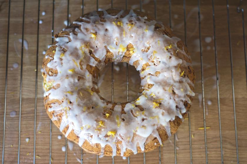 Lemon cake with white icing