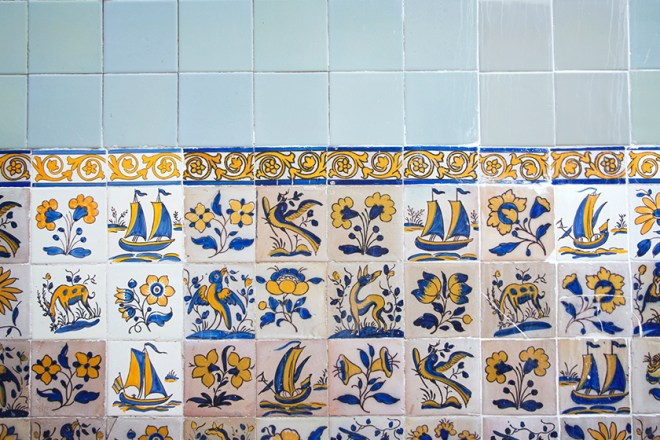 Blue and yellow painted tiles
