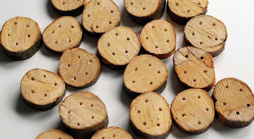 Rough wooden buttons