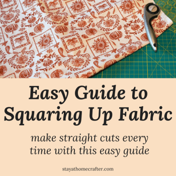 Step by Step Guide to squaring up fabric. Squared up fabric is essential for making straight cuts. Master this skill with this step-by-step tutorial for even the most inexperienced beginner's.