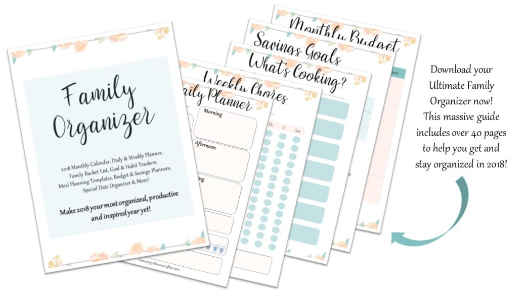 Make 2018 your most organized, productive and inspired year yet. Download your FREE 2018 Family Organizer now! Complete with over 40+ pages to help you get and stay organized in 2018. Includes monthly calendars, daily and weekly planners, budget templates.