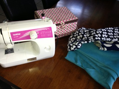The essentials. Approximately 1.5 meters each of your chosen fabric, sewing machine and sewing kit