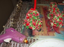 Attach to bells with glue and hang from ring