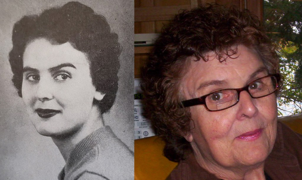 Image of Connie Spafford 1956 Graduation picture and current picture from Eulogy in Rhinelander, WI