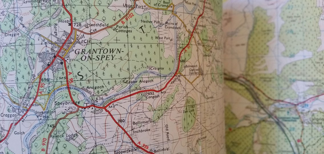 Map of Grantown on Spey on a lampshade at Strathallan Guest House