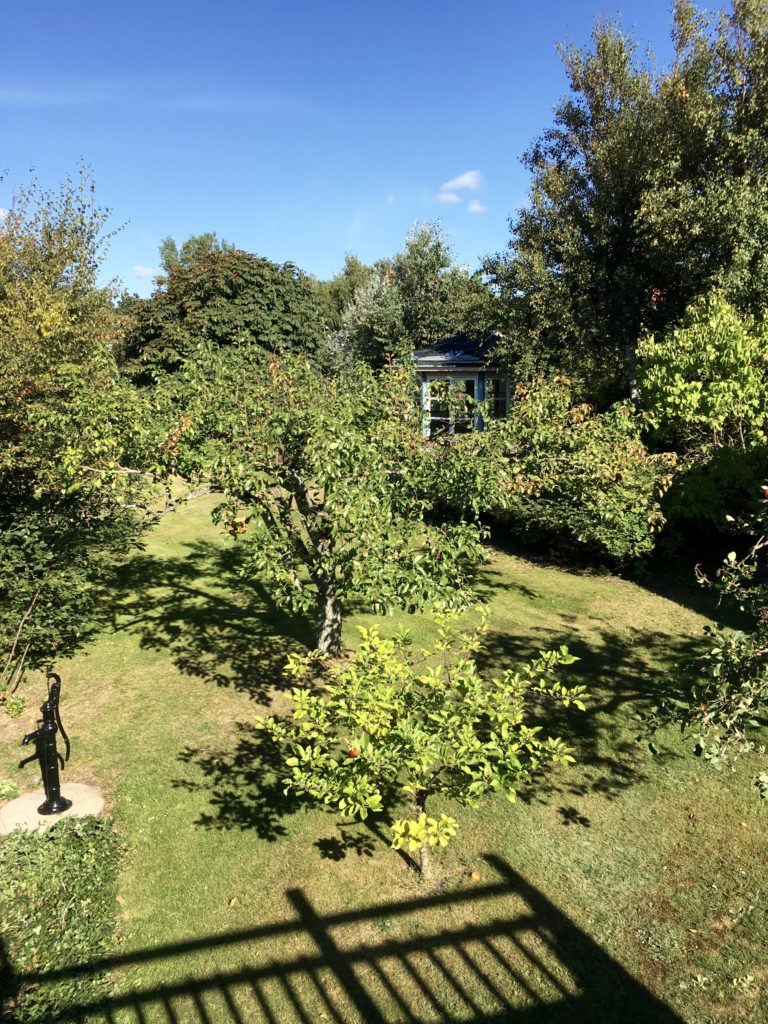 View of the garden from the deck. Two detached guest homes are on the property.