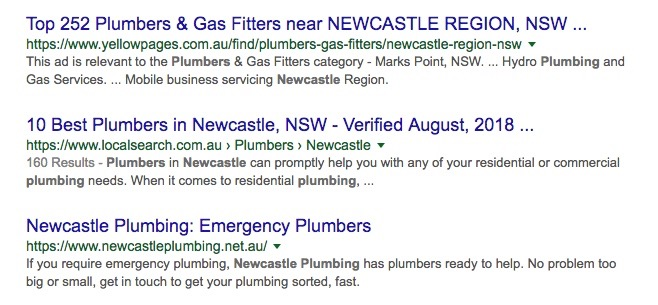 Local business search results for newcastle plumbers