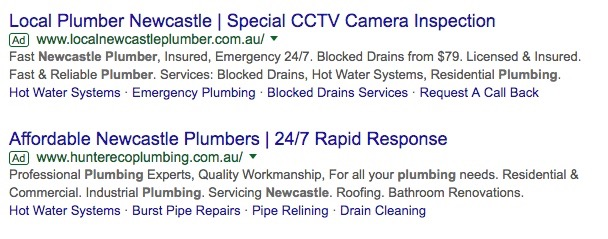 Paid search results example for a google search for newcastle plumbers