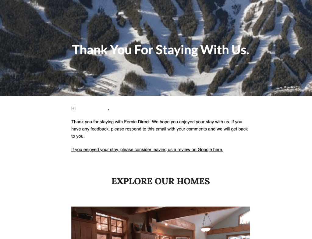 Vacation Rental Mailchimp Email