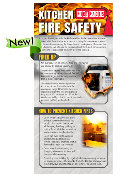 Fire Facts Rack Card Kitchen Fire Safety  Elite Fire