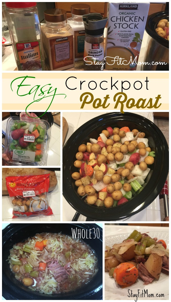 Easy Crockpot Pot Roast prepared in 5 minutes!