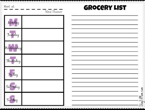 Free Weekly Meal Planner and Grocery List Printable