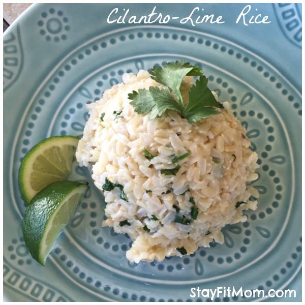 Healthy Cilantro-Lime Rice made with brown rice. Super easy and only 3 ingredients!
