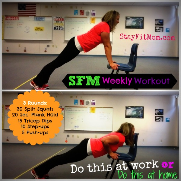 Weekly Workouts you ca do at home or work. These are never more than 30 min and hardly any equipment!
