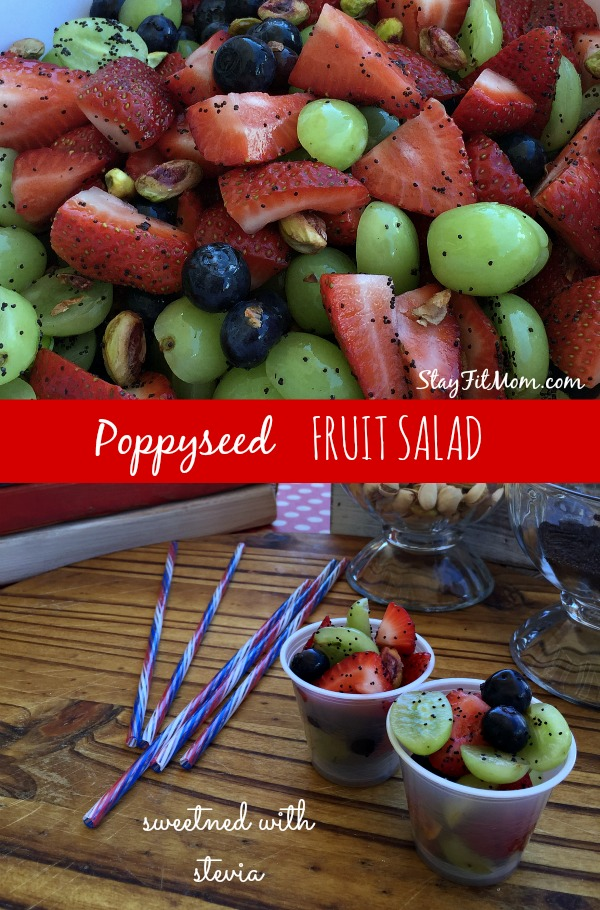 Healthy fruit salad with pistachios and sweetened with stevia. This is great for BBQ's!