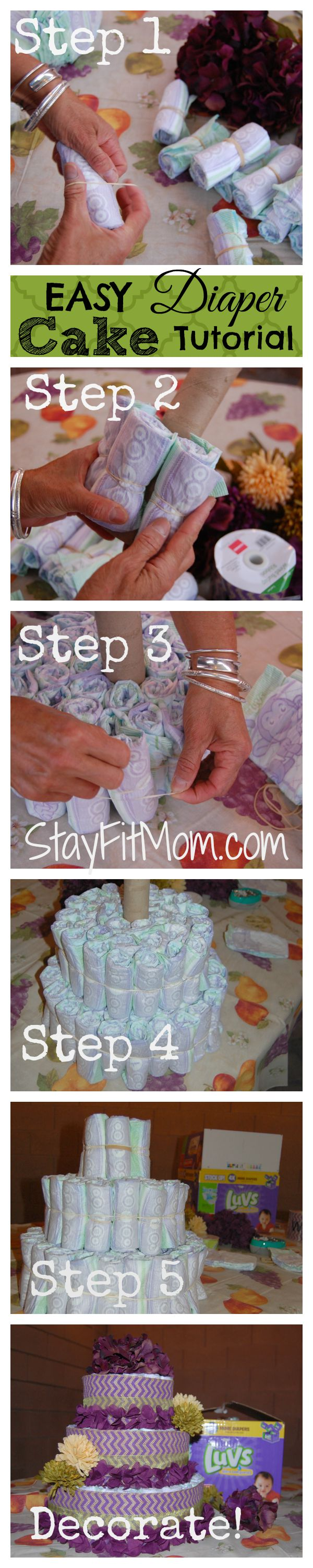 A diaper Cake- The PERFECT baby shower decor item AND gift for the non-crafter!