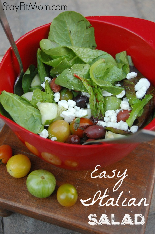 Easy Italian Salad from StayFitMom.com- the perfect pairing with pizza night!