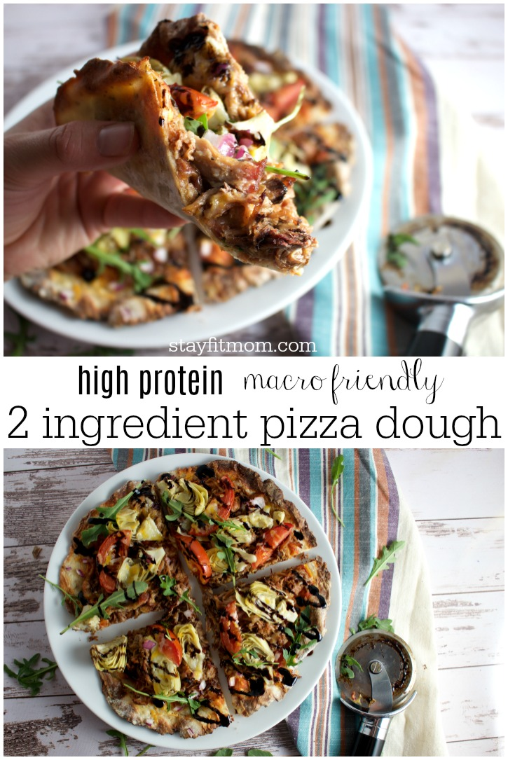 Easy to make 2 ingredient pizzas with extra protein! #stayfitmom #pizzadough #stayfitmomrecipe #iifym #highprotein