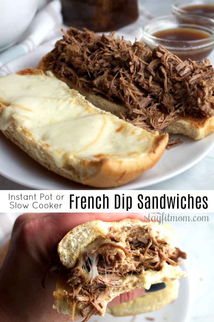 High protein, macro friendly French Dip sandwiches in the Instant Pot! #stayfitmom #frenchdip #iifymrecipe #macrofriendly