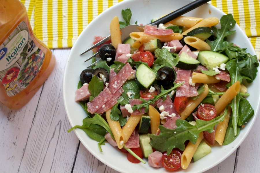 High protein, macro friendly, light Italian Summer Salad. #stayfitmom #summersalad #italiansalad #macrofriendly