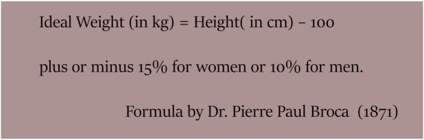 How to lose weight - Ideal Weight Formula (Dr Pierre Paul Broca)