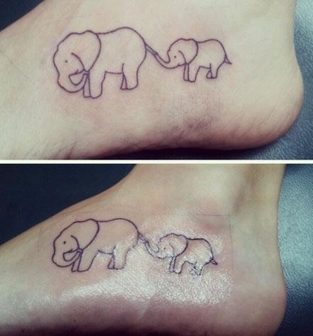 Mother Daughter Tattoos Elephants