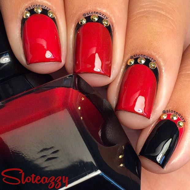 Black And Red Nail Design With Gold Details