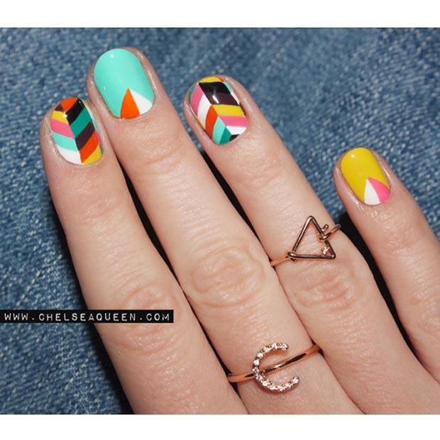 Colorful Nail Design For Short Nails