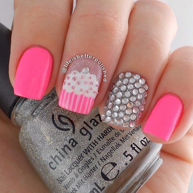 Pink And Silver Cupcake Nail Design